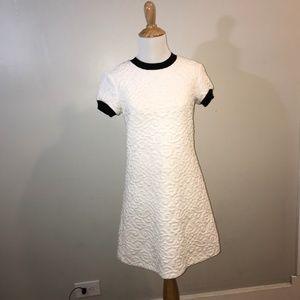 Retro Zara Embroidered White Mod T-shirt Dress